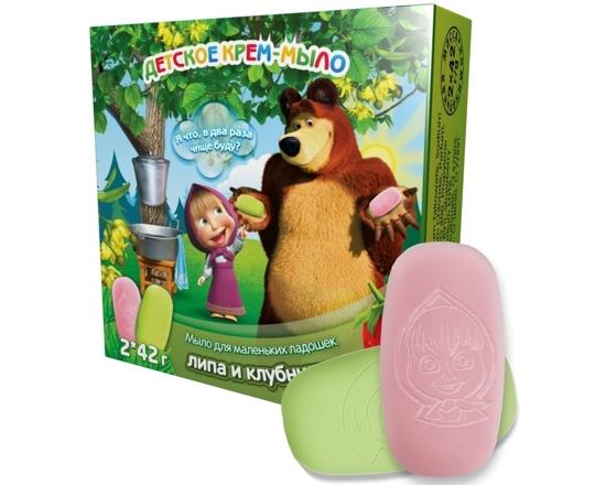 Изображение Крем-мыло детское Маша и Медведь клубничка и липа 84 мл.