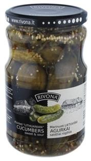 "Picture of  Pickled Cucumber sweet & sour ""Lietuviski Marinuoti Agurkai"", Rivona 700g"