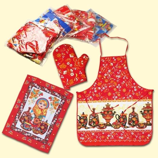 Picture of Kitchen set, 3 pieces (Apron+glove+towel) various colors and motifs, 100% cotton