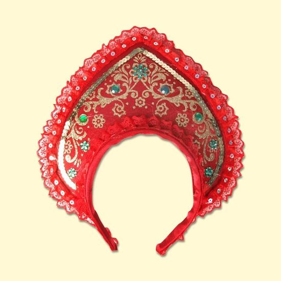 """Picture of Kokoshnik """"Beauty"""", 22.5 cm, red"""