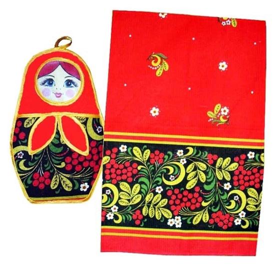 "Picture of Set of towel and pot holder Matryoshka doll ""Khokhloma"""