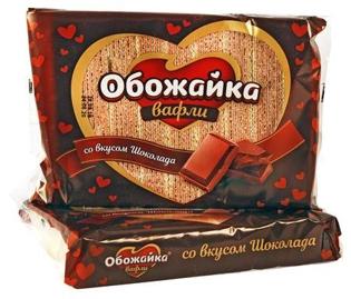 """Изображение Вафли """"Обожайка"""" вкус шоколад 225g"""