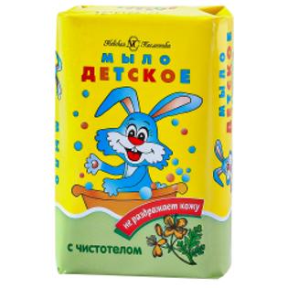 """Изображение Детское мыло с чистотелом """"Нева Косметикс"""" 90 г"""