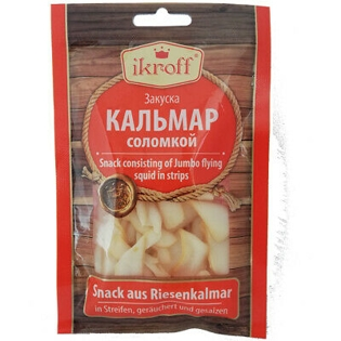 Picture of Smoked And Salted Jumbo Flying Squid Strips, Ikroff  36g