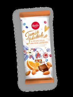 Изображение Laima - Темный шоколад с кусочками апельсинового желе и миндалем 100g