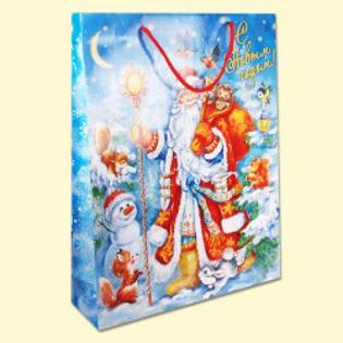 """Изображение  Подарочный бумажный пакет """"Рождественский лес"""", 31x40x9 см, синий - 1 шт."""