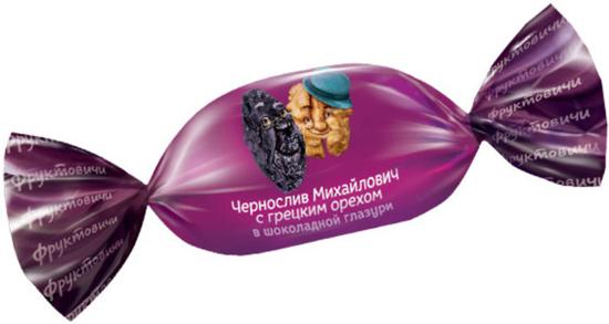 Изображение  Чернослив с грецким орехом в шоколадной глазури ± 200g