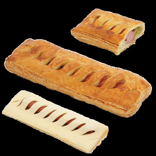 Изображение Пирожok с соусом из колбасы и огурца и горчицы - 1шт.
