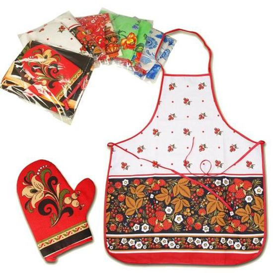 Изображение Кухонный набор,  различные расцветки и мотивы, 100% хлопок