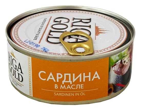 """Picture of Atlantic Sardines in Oil """"Riga gold"""" 240g"""