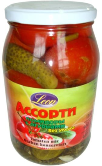 Изображение  Ассорти красные помидоры с огурцами  без уксуса 0,9л
