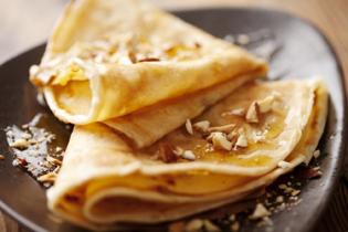 Изображение Вегетарианские блины с кленовым сиропом и орехами - 1 порция