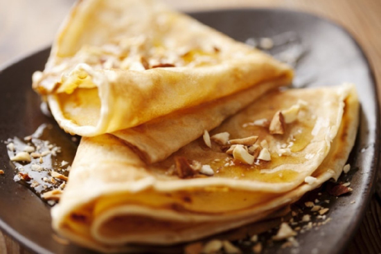 Picture of OJ Pancakes with Maple Syrup and Nuts - 1 portion