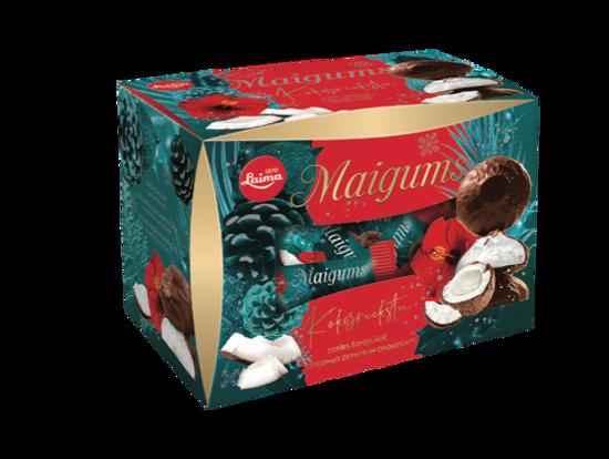 """Изображение Рождественские сладости, Зефир в шоколаде с кокосом """"Maigums"""", Laima 185g"""